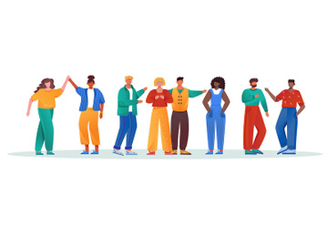 Multinational group flat vector illustration preview picture