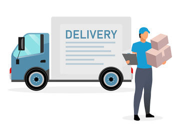Deliveryman with parcels flat illustration preview picture