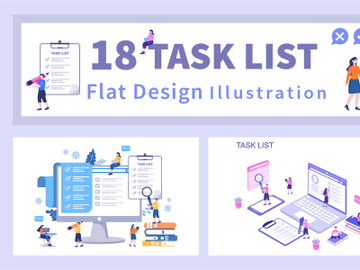 18 Task List Vector Illustration preview picture