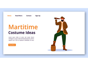 Maritime costume ideas landing page vector template preview picture