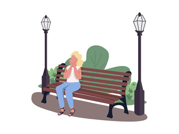 Excited woman visiting park semi flat color vector character preview picture