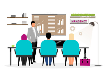 Job search interview flat vector illustration preview picture