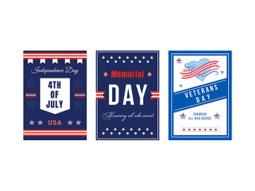 American national holiday poster flat vector templates set preview picture