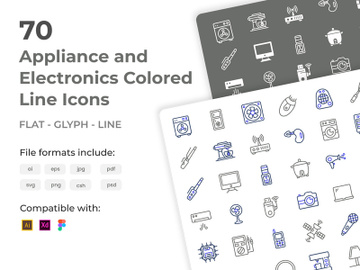 70 Appliance and Electronics Colored Line Icons preview picture