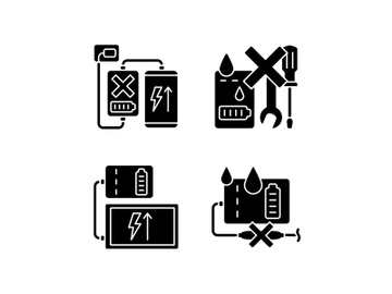 Powerbank use black glyph manual label icons set on white space preview picture