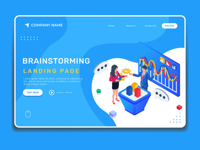 Business brainstroming concept. Landing page illustration template.