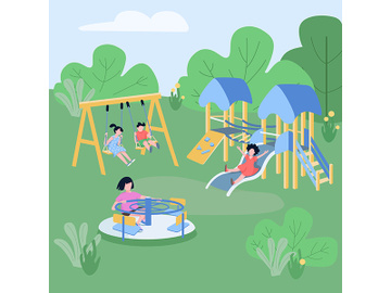 Children play zone flat color vector illustration preview picture