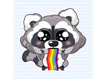 Cute raccoon kawaii cartoon vector character preview picture