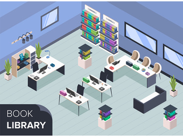 Modern book library isometric color vector illustration preview picture