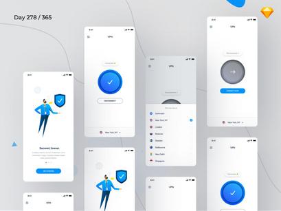 VPN Mobile App UI Kit by Kishore ~ EpicPxls