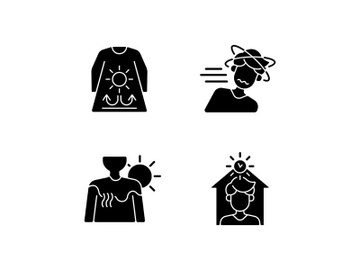 Sunstroke risk during summer black glyph icons set on white space preview picture