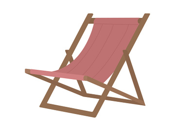 Beach chair for relaxing semi flat color vector object preview picture