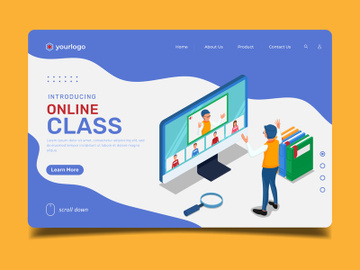 Online class meeting - Landing Page Illustration template preview picture
