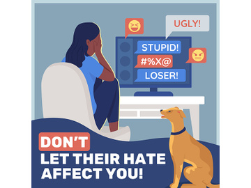 Anti cyberbullying social media post mockup preview picture