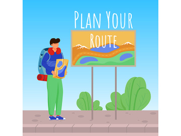 Plan your route social media post mockup preview picture