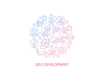 Self development abstract gradient linear concept layout with headline preview picture