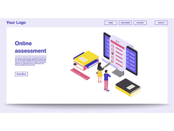 Online assessment webpage vector template with isometric illustration preview picture