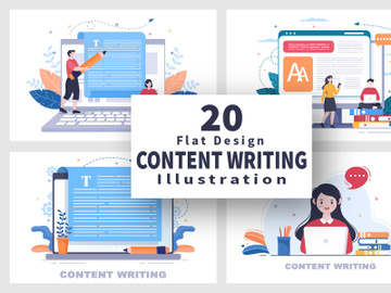 20 Content Writing or Journalist Vector Illustration preview picture
