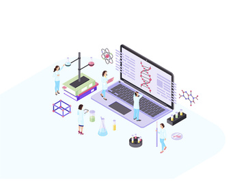 Scientists, geneticist, academics, biologists, research workers isometric color vector illustration preview picture