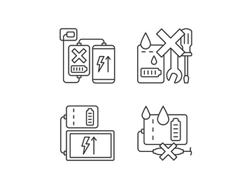 Powerbank use linear manual label icons set preview picture