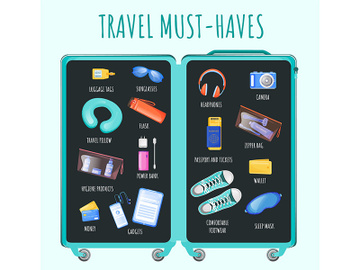 Travel must haves flat color vector informational infographic template preview picture