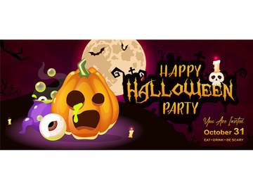 Happy halloween night party flat banner template preview picture