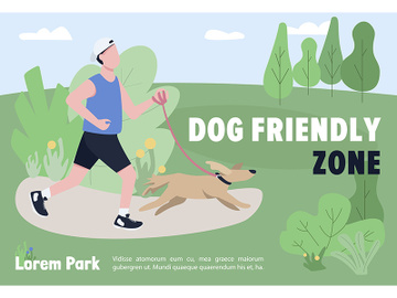 Dog friendly zone banner flat vector template preview picture