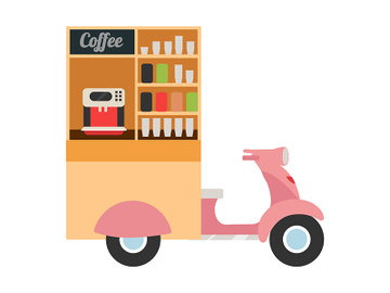 Coffee food truck flat vector illustration preview picture