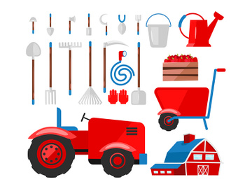 Farming, agricultural equipment flat vector illustrations set preview picture