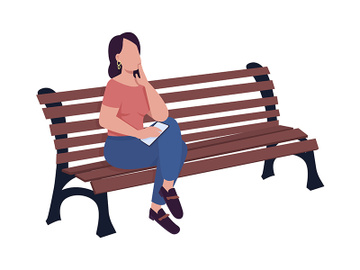 Young woman waiting for someone on bench semi flat color vector character preview picture