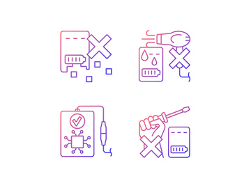 Extending power bank life gradient linear vector manual label icons set preview picture