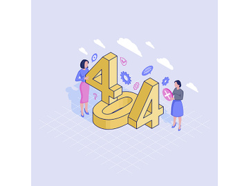 404 helpline service isometric illustration preview picture