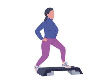 Woman doing warm-up exercise semi flat color vector character preview picture
