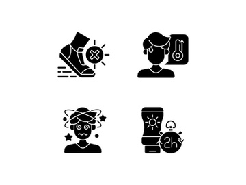 Heatstroke prevention black glyph icons set on white space preview picture