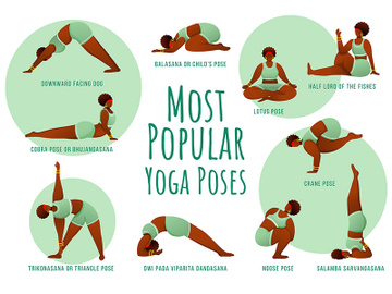 Popular yoga poses green vector infographic template preview picture