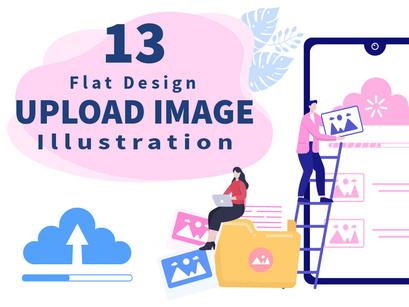 13 Upload image Background Vector Illustration