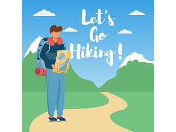 Let go hiking social media post mockup preview picture