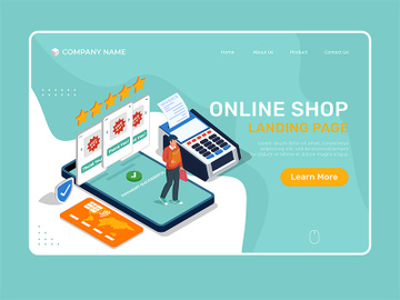 Landing Page Illustration of online shop with man buying with cell phone. preview picture