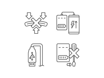 Powerbank proper use linear manual label icons set preview picture