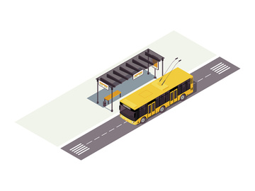 Trolleybus stop isometric color vector illustration preview picture