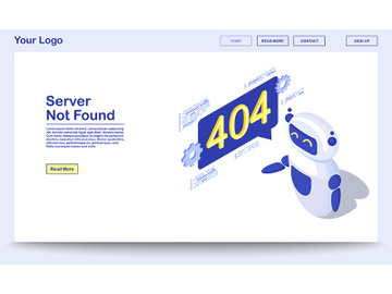 Server not found isometric webpage template preview picture