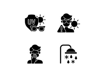 UV rays exposure risk black glyph icons set on white space preview picture