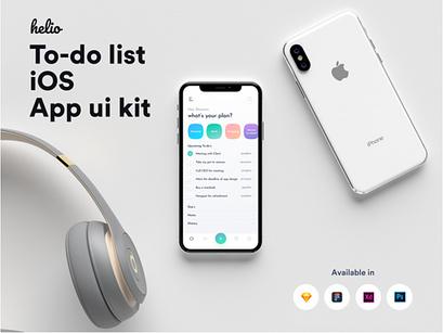Helio to-do list iOS UI kit by Shourov Chowdhury ~ EpicPxls