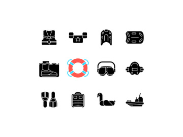 Pool floats and water safety equipment black glyph icons set on white space preview picture