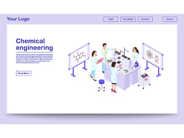 Chemical engineering isometric webpage template preview picture