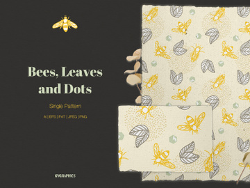 Bees, Leaves and Dots Vector Pattern preview picture