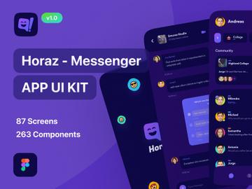 Horaz - Community & Personal Messanger App Dark UI Kit preview picture