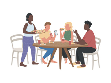 Visit fast food restaurant with friends semi flat color vector characters preview picture