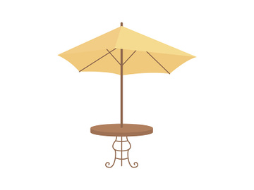 Table with umbrella semi flat color vector object preview picture
