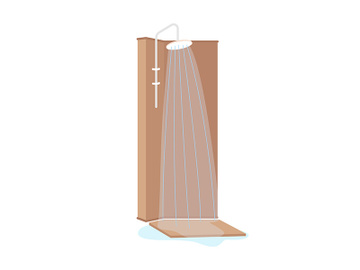 Shower cabin semi flat color vector object preview picture